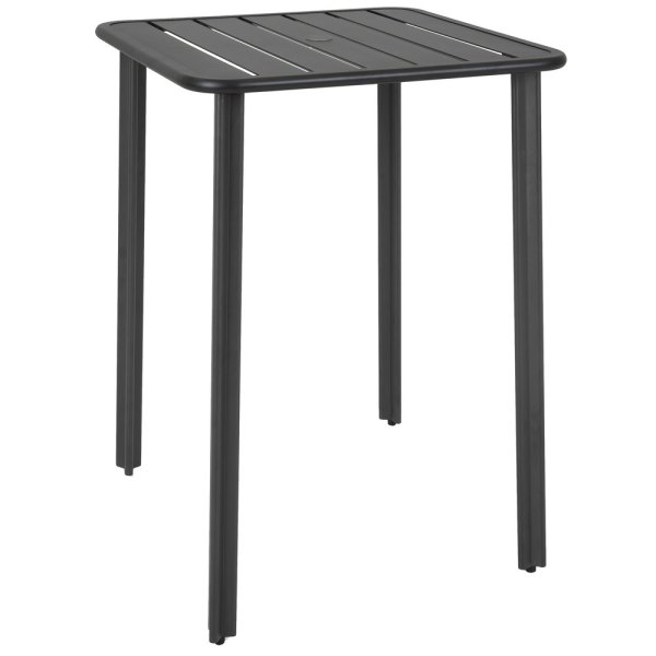 "outdoor patio bar height tables BFM Seating DVV3232BLUT Vista 32"" Square Black Aluminum"