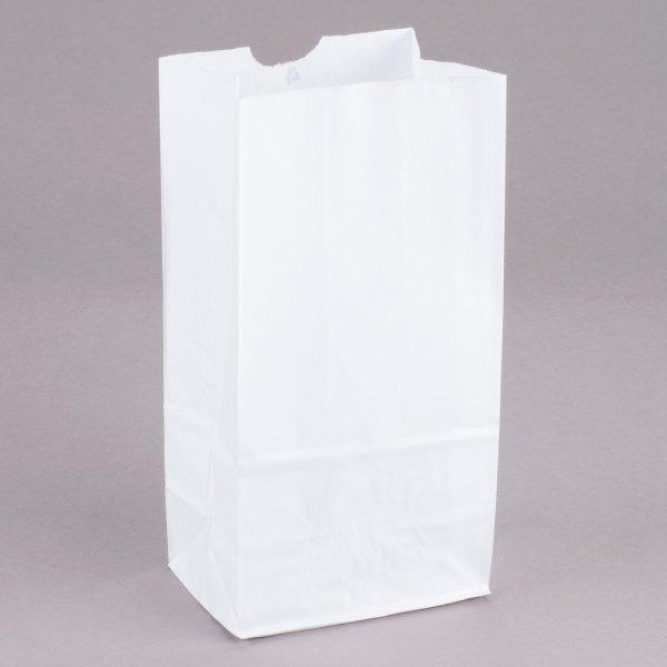 Duro 4 lb. White Paper Bag - 500/Bundle