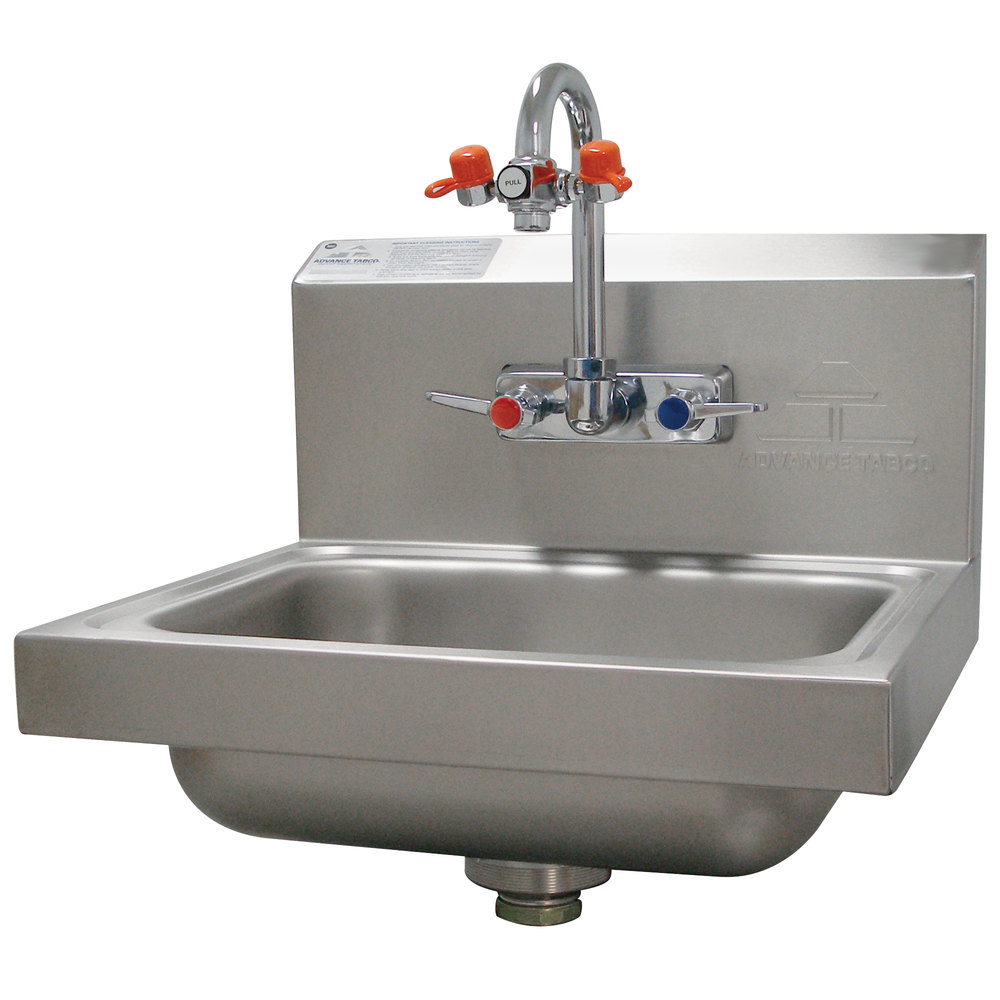 advance tabco 7 ps 55 hand sink with emergency eye wash attachment 17 1 4 x 15 1 4
