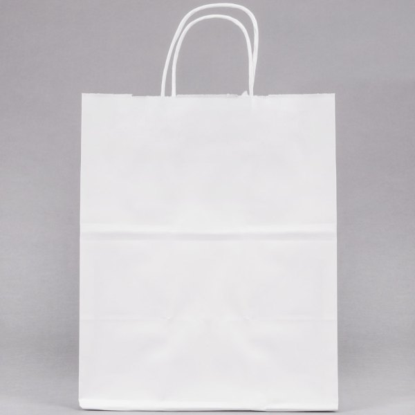 """Duro Bistro White Paper Shopping Bag with Handles 10"""" x 6 ..."""