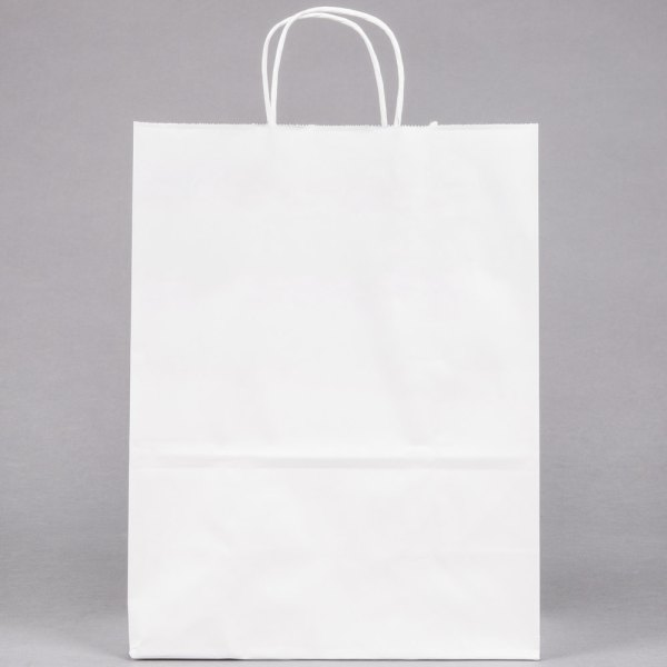"""10"""" x 5"""" x 13"""" White Paper Shopping Bag with Handles - 250 ..."""