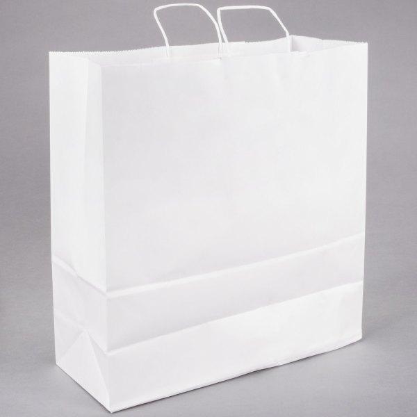 "Jumbo 18"" x 7"" x 19"" White Paper Shopping Bag with Handles ..."