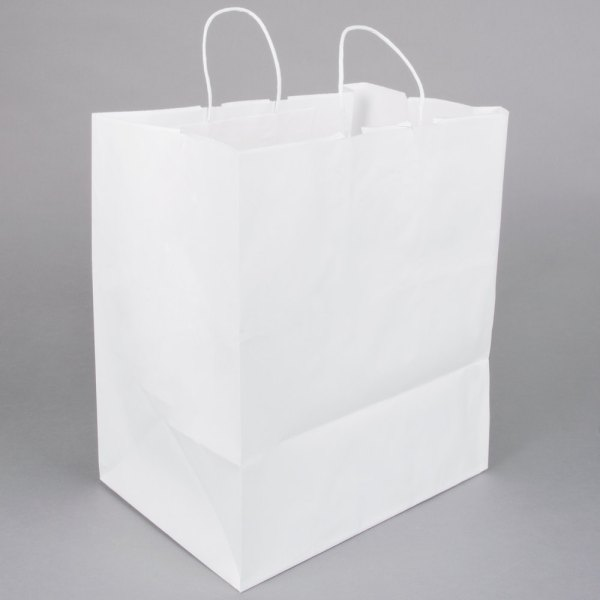 Duro Super Royal White Paper Shopping Bag with Handles 14 ...