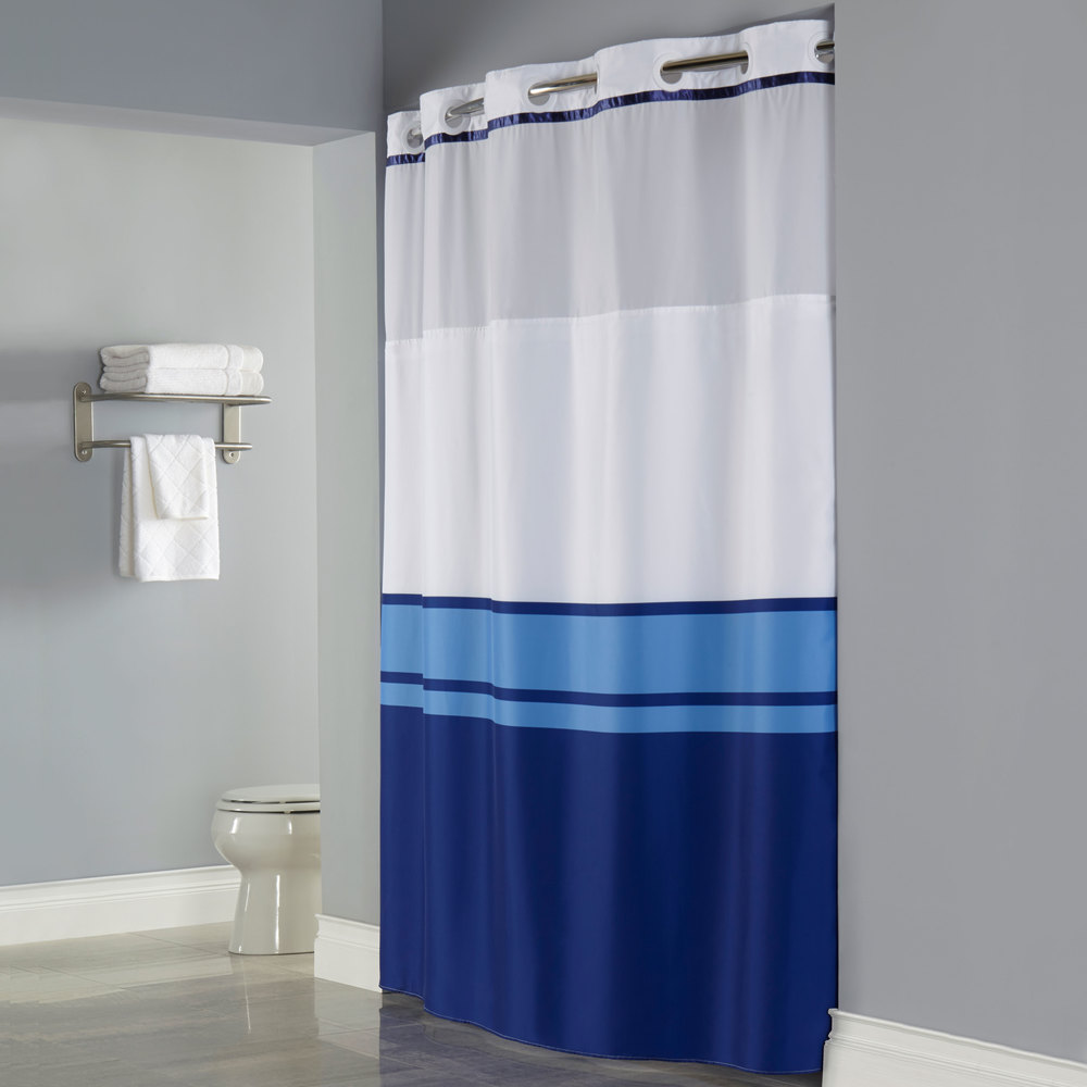 hookless hbh49cbk01sl77 blue print brooks shower curtain with matching flat flex on rings it s a snap polyester liner with magnets and poly voile