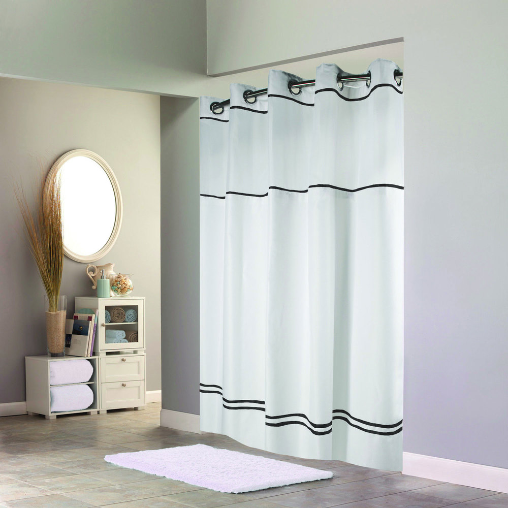 Hookless HBH40MYS0110SL77 White With Black Stripe Escape Shower Curtain With Chrome Raised Flex