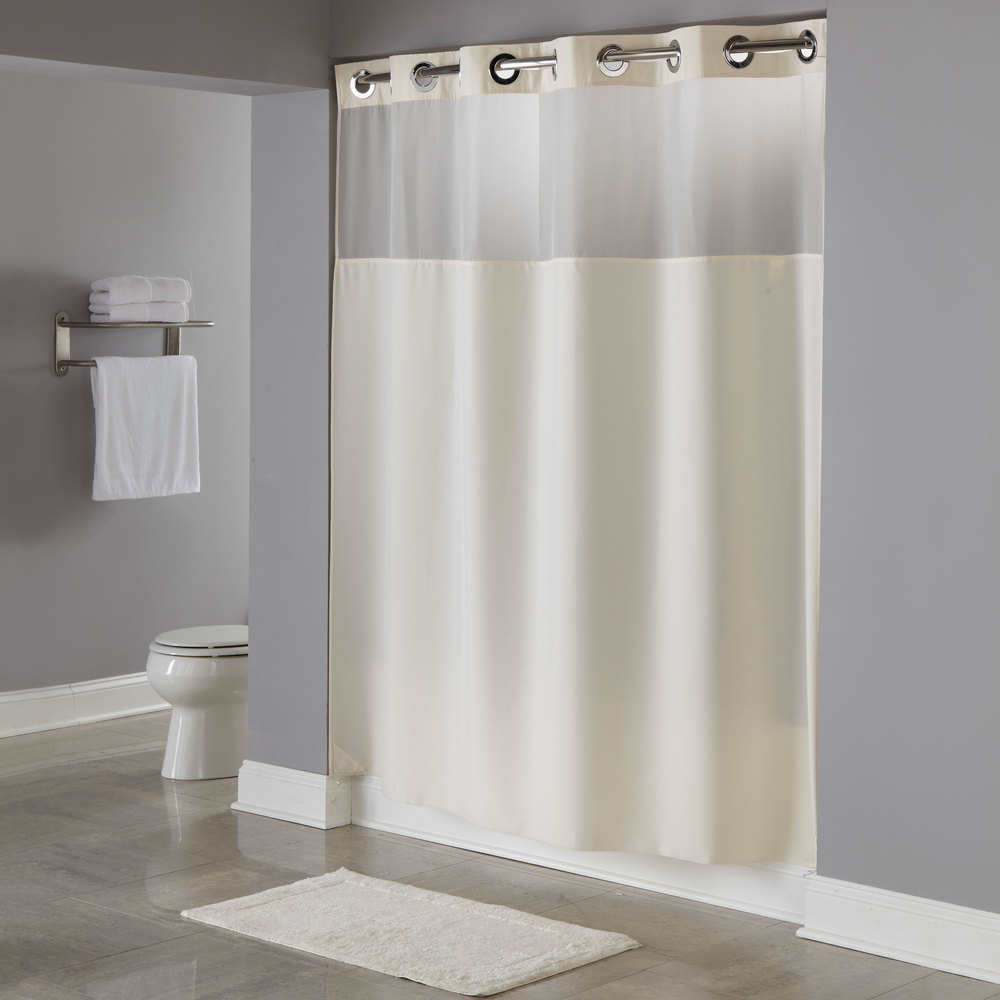 Hookless HBH49MYS05SL77 Beige Illusion Shower Curtain With Chrome Raised Flex On Rings Its A