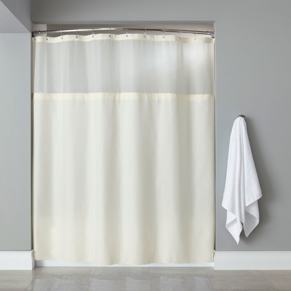Hooked HBG40MYS05SL Beige Polyester Premium Shower Curtain With Buttonhole Header Its A Snap