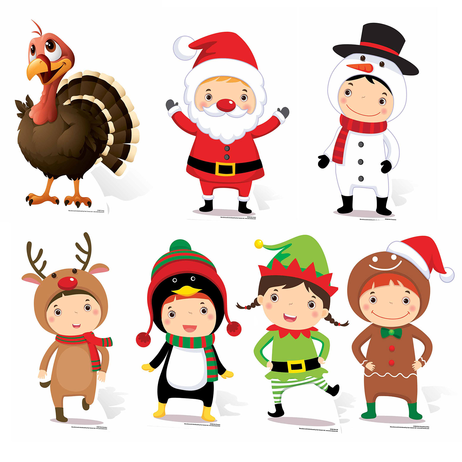 Christmas Themed Mini Cardboard Cutout Collection Set