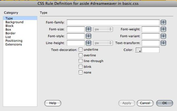 css rule definition dialog box