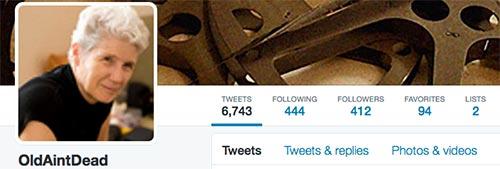 Screen grab of my Twitter Profile