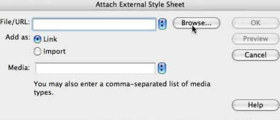Browse for the second style sheet to attach