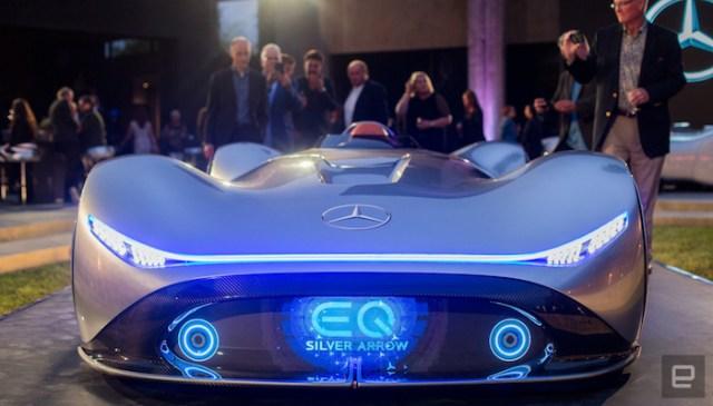 526a3d106fbb90e60799cb0a32832973dee48c45 - The electric Mercedes-Benz EQ Silver Arrow is retro quick