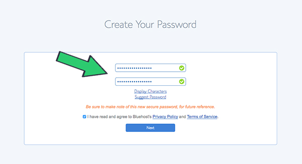 enter-strong-password-bluehost