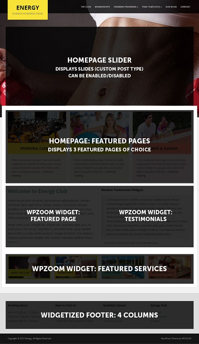 Tema Wordpress Gratis Energy - Gimnasios y Fitness » webtralia.com