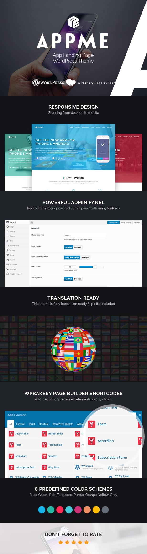 AppMe - Tema de WordPress para la página de inicio de la aplicación