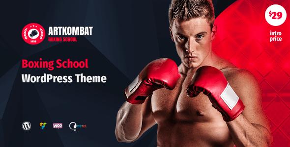 boxing school wordpress theme