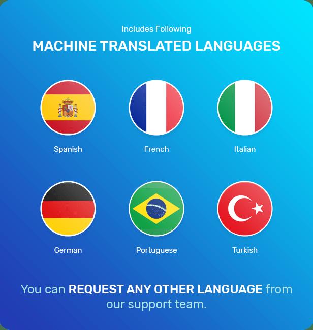 Se proporcionan archivos de traducción para español, francés, alemán, italiano, turco y portugués.