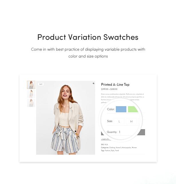 Temas de wordpress de woocommerce de mejor moda 2018 - muestras de variaciones de productos