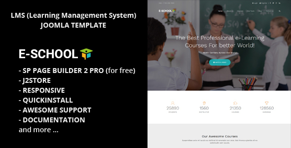 E-School - Aprendizaje profesional y cursos de Business Joomla Theme - Corporate Joomla