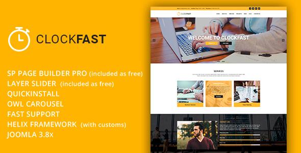 ClockFast - Plantilla Joomla receptiva multipropósito con Page Builder - Corporate Joomla