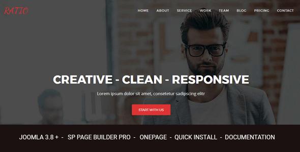 Ratio - Responsive Joomla Theme Design Agency con Page Builder - Joomla CMS Themes