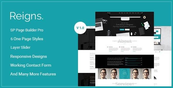 Reigns - Professional One Page Corporate Tema Joomla Con Builder - Corporate Joomla