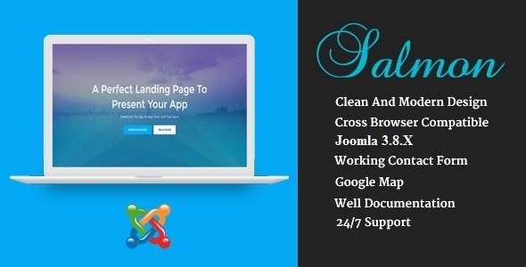 Salmon - Tema de Joomla de Business App de aterrizaje de una página con Page Builder - Tecnología Joomla