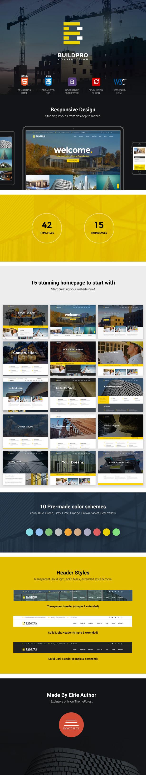 Plantilla de construcción y construcción de sitio web