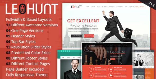LeoHunt - Tema Joomla multiusos sensible con creador de páginas - Joomla corporativo