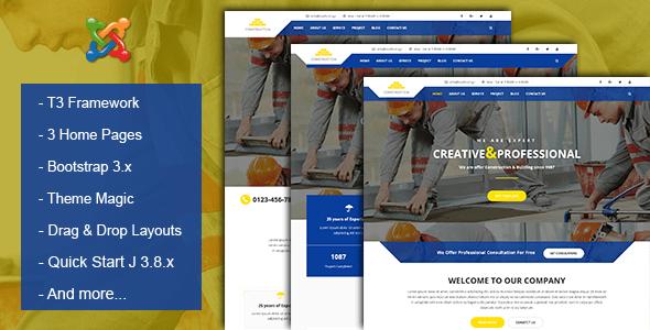 Tema de Joomla sobre construcción y negocios - Joomla corporativo