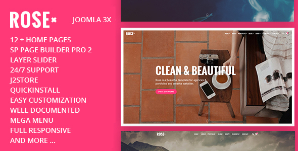 Rose - Tema Joomla responsivo multiusos de una página con Page Builder - Creative Joomla