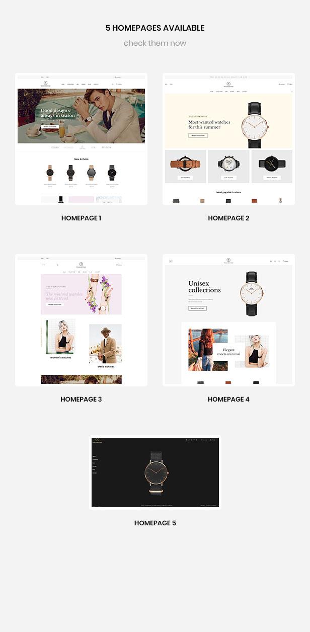Múltiples páginas para reloj de mano, ropa, moda, accesorios.