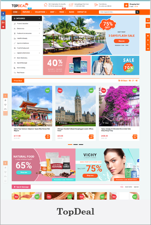 TopDeal - Tema de Shopify multipropósito con constructor de arrastrar y soltar seccionado