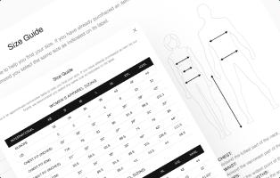 Página de guía de tamaño y ventana emergente en el tema de Shella Shopify