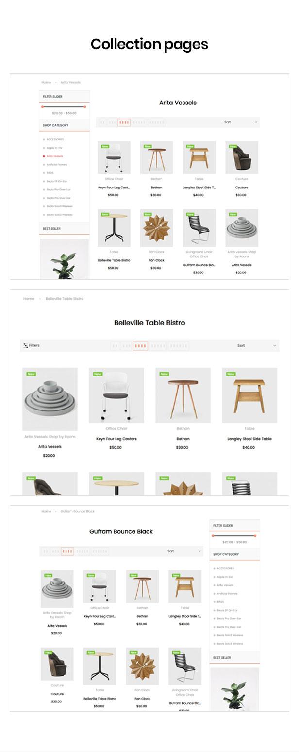 Shopify tema múltiple para la página de categorías