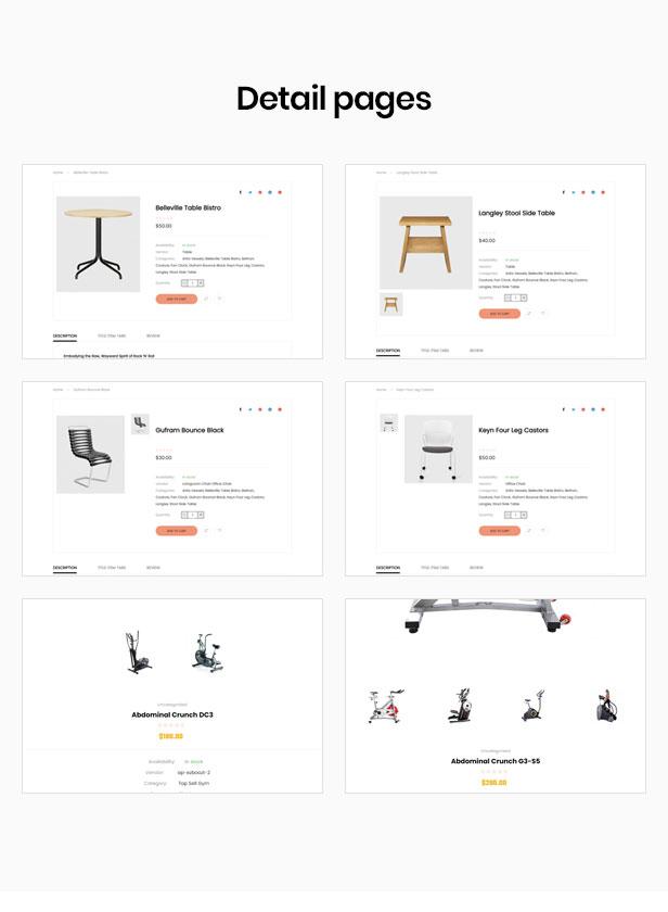 shopify theme paralaje - múltiples estilos de diseño para la página de detalles del producto