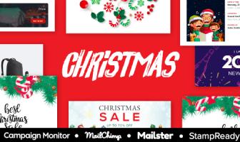 NAVIDAD - Plantilla de correo electrónico responsivo multipropósito de venta de Navidad y año nuevo con StampReady Builder
