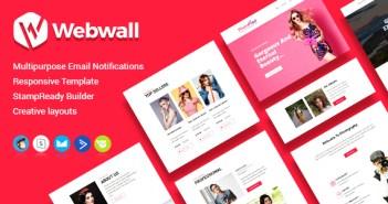 Plantilla de boletín de webwall con acceso en línea a StampReady Builder