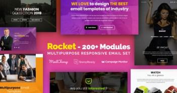 Rocket - Correo electrónico receptivo con más de 200 módulos + MailChimp Editor + StampReady + Online Builder