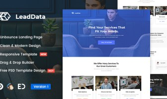 LeadData - Plantilla de página de inicio de Unbounce de generación de leads
