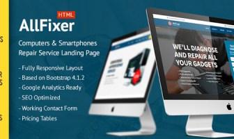AllFixer - Paquete de Páginas de Aterrizaje del Servicio de Reparación de Computadoras y Smarphones
