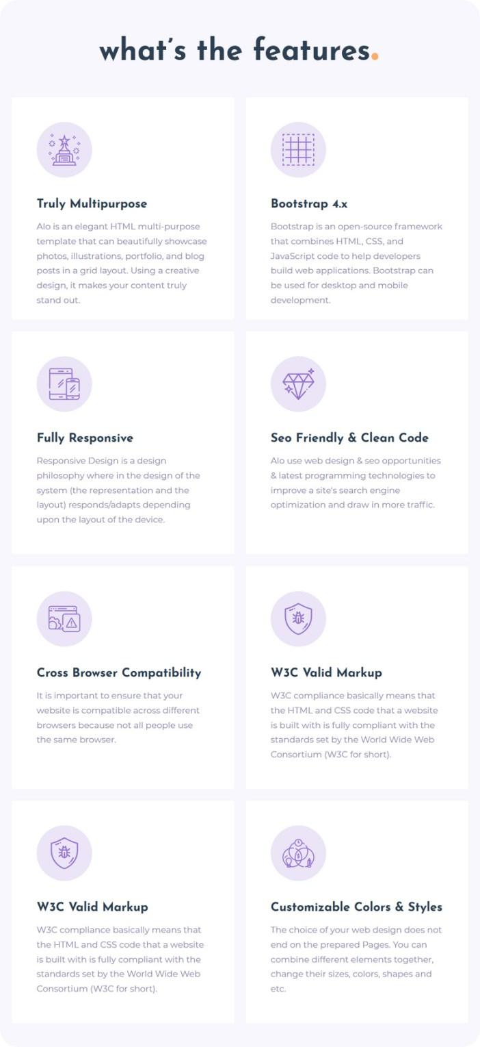 Alo - Plantilla HTML de creatividad multipropósito