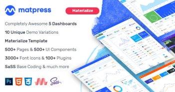 MatPress - Materialize Admin Template