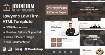 Johnfirm - Plantilla HTML para abogados y abogados