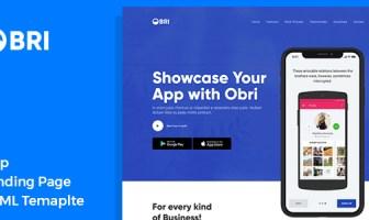 OBRI - Plantilla HTML de la página de destino de la aplicación