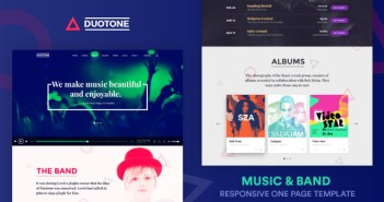 Music & Band Responsive Website Template - Duotone