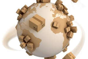 cardboard boxes around the world - global shipment 3d concept