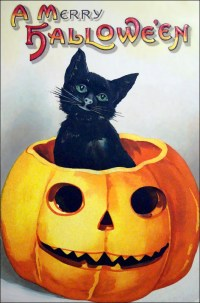 vintage halloween cat clipart