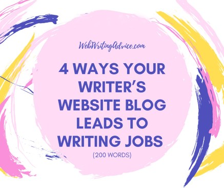 4 Ways Your Writer's Website Blog Leads to Writing Jobs (200 words)