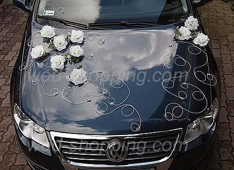 Wedding Car Decoration White Roses Deco Kit